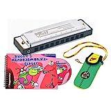 Voggy´s Mundharmonika Set Volt-Mundharmonika C-Dur Neopren-Tasche Mundharmonika-Schule Buch CD (diatonisch, Blue Harp, Richter Modell, Metall), silber / bunt